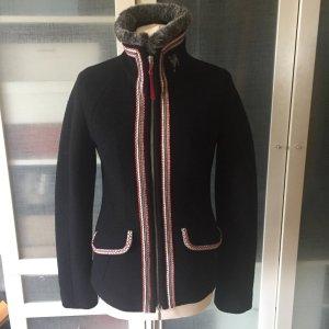 Veste en laine noir-rouge foncé laine