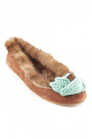 Foldable Ballet Flats turquoise-brown casual look