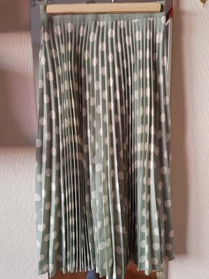 Mango Pleated Skirt pale green-lime-green