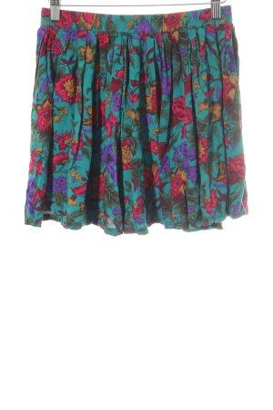 Plaid Skirt flower pattern casual look