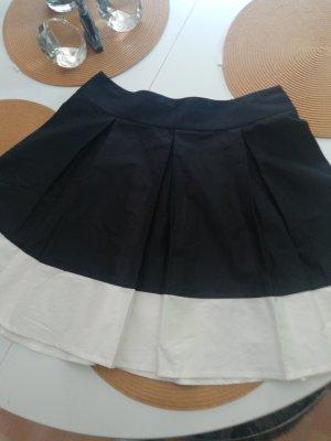 H&M Plooirok wit-zwart