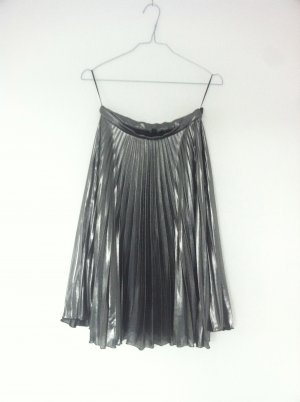 Topshop High Waist Skirt silver-colored-black polyester