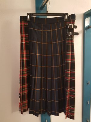 Zara Plaid Skirt brick red-blue