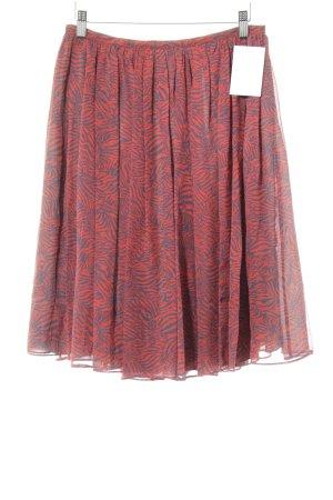 Jupe à plis rouge brique-bleu foncé motif abstrait style décontracté