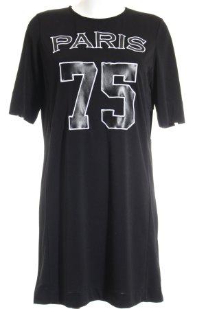Fame on you Longshirt schwarz-weiß Schriftzug gestickt sportlicher Stil