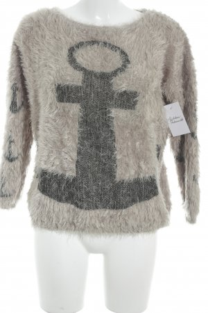 Fancy Strickpullover hellbraun-taupe Motivdruck Casual-Look