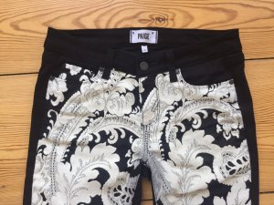 Fantastische Paige Denim Jeans schwarz weiß bestickt mit Blumen-Muster