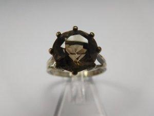 Fantastischer Antik Rauchquarz Kronen Ring Silber Echtsilber Edelstein Statement