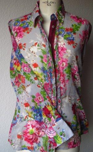 farbbrilliante, leicht transparente Floral-Druck Bluse von Milano Donna, Italy