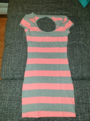 Lang shirt lichtgrijs-neonroos
