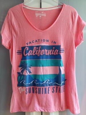Farbenfrohes V-Shirt mit Frontprint Gr. UK 14
