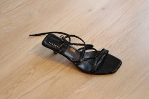Farrutx Strapped High-Heeled Sandals black leather