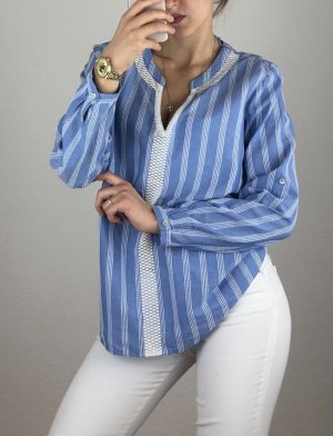 Tom Tailor Blusa tipo body azul-blanco