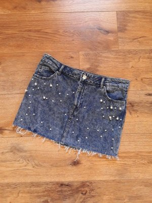Fashion Blogger Perlen Jeans Rock blau Gr. 38