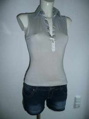 Top Polo gris clair coton