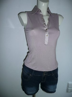 Fashion Elle Polo Top mit Kragen + Knopfleiste aus Satin flieder Gr S 36