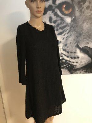 Fashion LOOK schwarz Wollkleid Mango XS fransig Casual Midikleid Midi Langarms