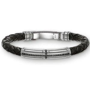 Fashion Mode Thomas Style 925 Sterlingsilber Schwarzes Leder Armband Schmuck