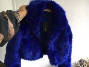 Veste en fourrure bleu