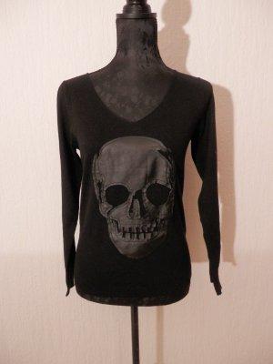 Fashion Punk Rock Gothic Pulli Leder Skull Blogger Shirt Langarmshirt Pullover