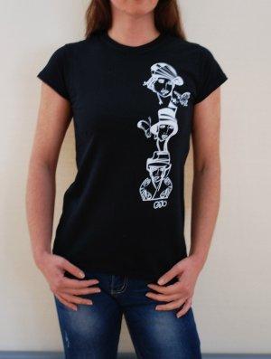 """""""Fashion"""", T-Shirt schwarz mit weißem Druck, NEU"""