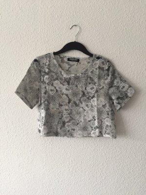 Fashion Union Blumen Cropped-Top grau 38
