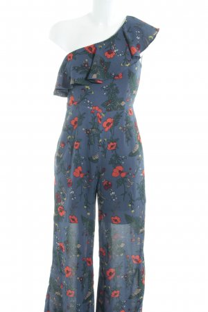 Fashion Union Jumpsuit stahlblau Blumenmuster Romantik-Look