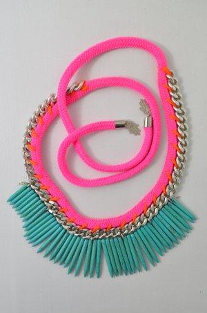 FASHIONNERDS Kette Ethno-Kette Ethno SHAFTS OF LUCK Neon-Pink Türkis Silber