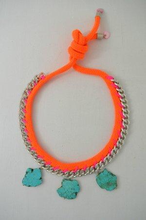 FASHIONNERDS Kette Hippie Kette Kordel Anhänger Türkise Neon-Orange Pink Silber