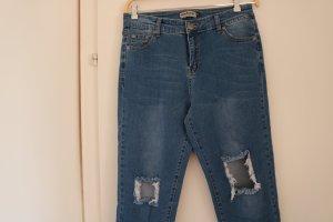 Jeans taille haute bleu azur