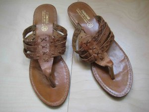 Sandalo toe-post marrone chiaro Pelle