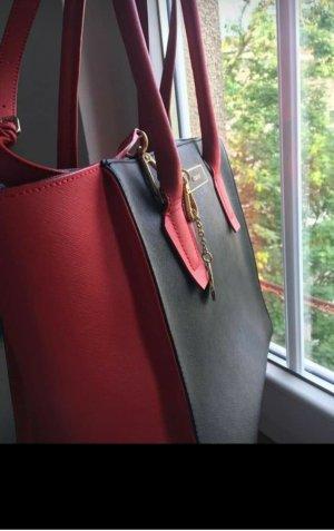 DKNY Bolso barrel negro-rojo oscuro