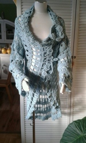 Knitted Wrap Cardigan cornflower blue-sage green