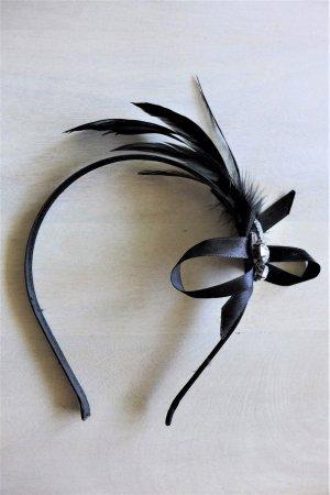 Faszinator Haarreif Kopfschmuck schwarz Strass Feder Dirndl Gatsby