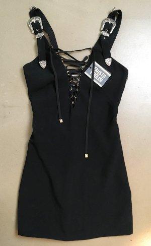 Cocktail Dress black-silver-colored mixture fibre