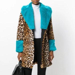 Manteau en fausse fourrure bronze-bleu fluo