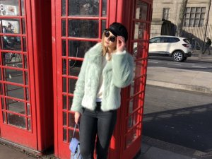 Topshop Fake Fur Jacket mint-turquoise