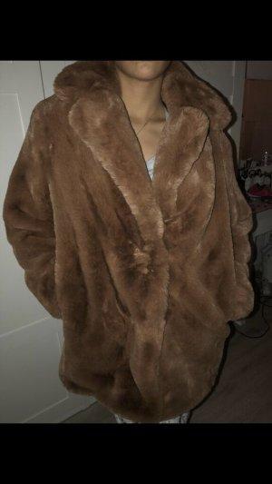 Mango Fake Fur Coat brown