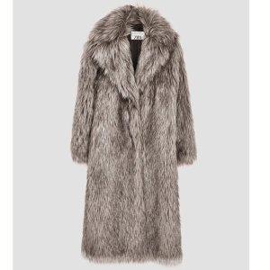 Manteau en fausse fourrure argenté