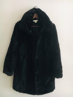 H&M Cappotto in eco pelliccia nero