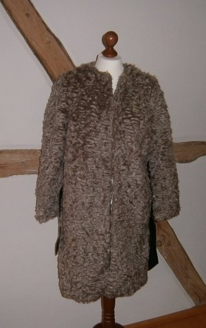 H&M Fake Fur Coat grey brown-light brown fake fur