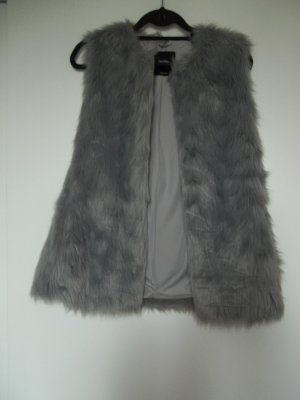 Bershka Fake Fur Vest silver-colored