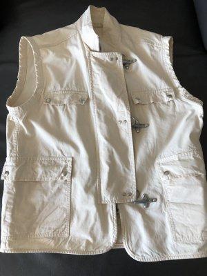 FAY Denim Vest natural white cotton