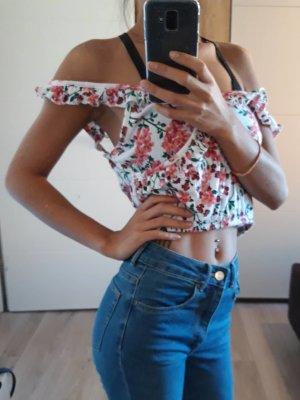 FB Sister Bauchfreies Oberteil mit Blumenmuster Größe XS