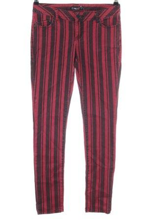 FB Sister Pantalón de cinco bolsillos rojo-negro estampado a rayas look casual