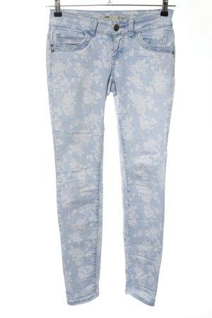 FB Sister Skinny Jeans blau-weiß Blumenmuster Casual-Look