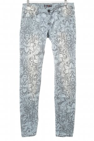 FB Sister Slim Jeans graugrün-anthrazit florales Muster Street-Fashion-Look