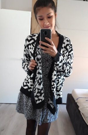 FB Sister Gilet long tricoté noir-blanc acrylique