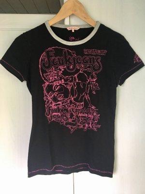 FCUK Jeans Shirt Stickerei schwarz pink Größe S