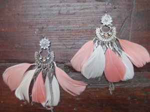 Feder Boho Hippie Indian Earrings Ohrringe